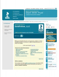 GoldFellow's Better Business Bureau Page