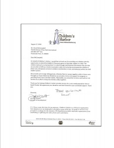 Thank You from Children's Harbor For Dolphin Ticket Donation
