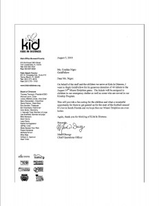 Kids in Distress Thank You letter to GoldFellow